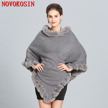Women Capes Solid Poncho 2018 Winter Faux Fox Fur Out Street wear Knitted Triangle Fur Sweater Plus Size Pullover Coat Fur Neck