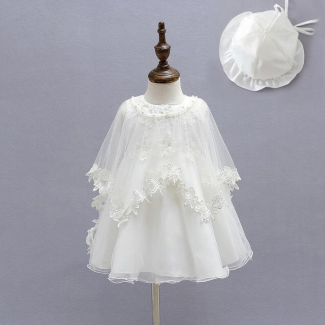 99ff03d3992 4PCs per Sets Off White Baby Girls  Lace Beads Dress Gown Headband Hat Cape