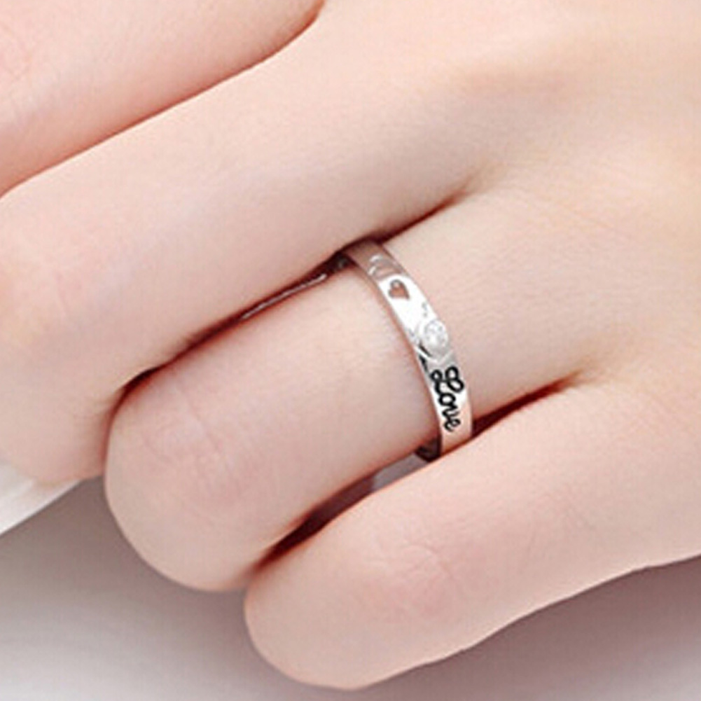 1 Pair New Hollow Double Love Design Ring Men And Women To Tie The ...