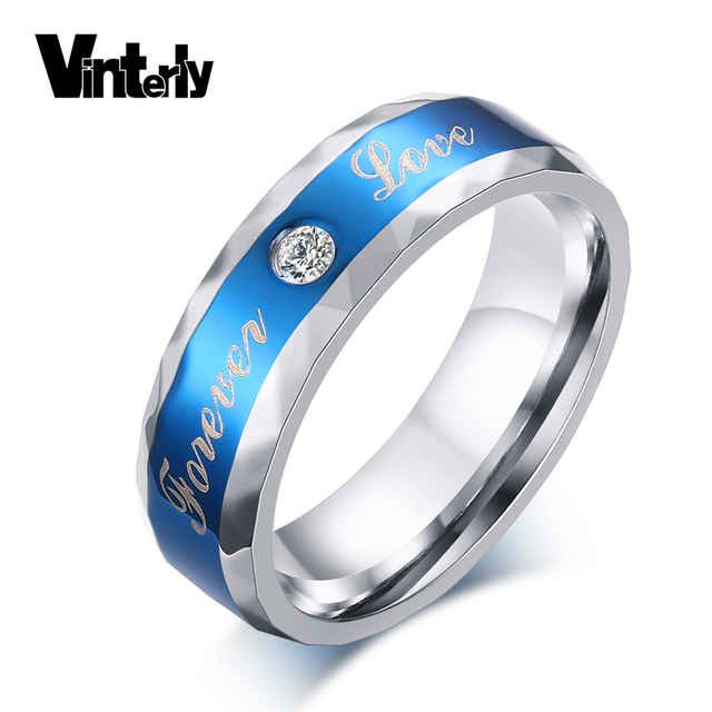 Aliexpresscom Buy Vinterly Blue Forever Love CZ Stone 6mm Anillos