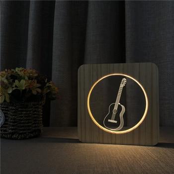 Música guitarra Saxphone auricular avión tanque lámpara de futbol USB Luz De noche LED 3D luces de madera calientes fiesta cumpleaños vacaciones regalo