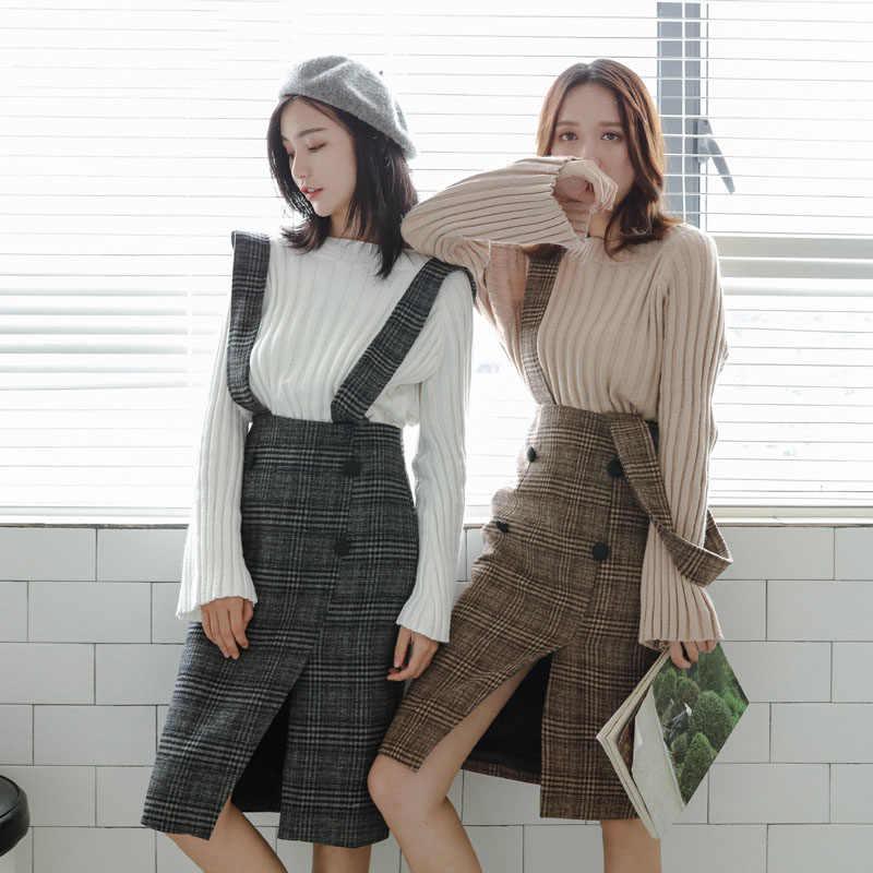 77bff2854aec3 Khaki Plaid Women Suspenders Skirt High Waist Asymmetry Button Wrap Long  Skirts Autumn Winter Ladies Slim