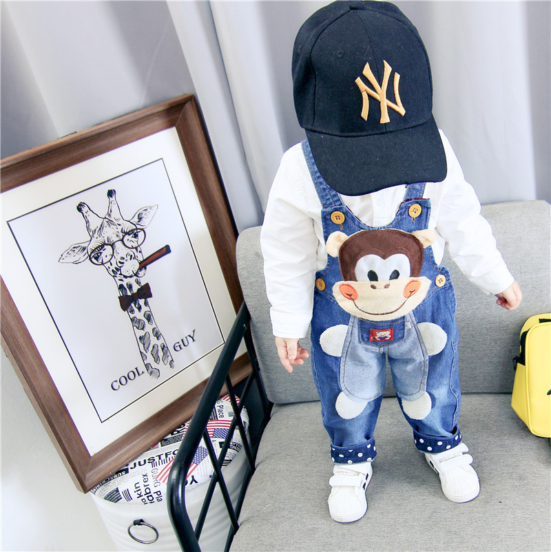 Children Denim Overalls Trousers Kids Letter Cartoon Toddler Bebe Jeans Autumn Pants For Baby Girl Boy Clothes Infant Romper 3T(China)