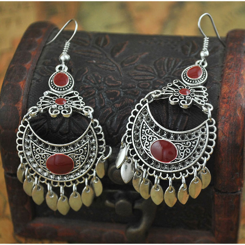 LOVBEAFAS Fashion Boho Statement Earrings For Women Jewelry Lange Drop Kwastje Rood Blauw Wit Zwart Emaille Vintage Oorbellen Bijoux