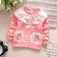 Toddler Baby Girls Coats Double Lace Pocket Single Row Button Long Sleeves Warm Spring And Autumn Baby Girls Jacket недорого