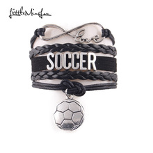Infinity love soccer bracelet football charm rope leather bracelets & bangles for men women jewelry gift for sport mom european american style ancient silver football sports charm pendant infinity love weaving bracelet women jewelry holiday gift