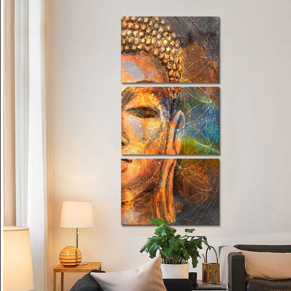 Enmarcado HD impresión 3 unids lienzo arte de la pared Buda de oro ...