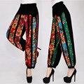 Pantalones harén Mujeres Hip Top Flores de Impresión Pantalones Harem de Lino Pantalones Elásticos Pantalones de Pierna Ancha Más El Tamaño de algodón Flojo Ocasional pantalones