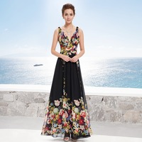 Fast Free Shipping Ever Pretty Brand HE09636BK Sexy Lady Double V Neck Chiffon Floral Printed Evening