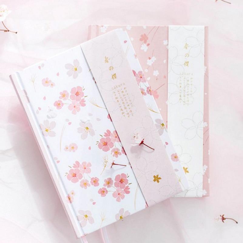 Notebooks Honig 2018 Notebook A5 Japanischen Kawaii Nette Sakura Blume Planer Molkerei Monatliche Wöchentlich Planer Bunte Leere Linie Grid Dot Seite GläNzende OberfläChe