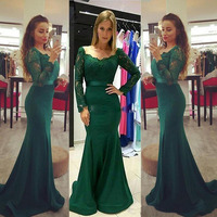 2018 Modest Dark Green Long Sleeve Evening Party Dresses Lace Stain Elegant Long Mermaid Fishtail Formal