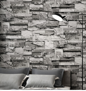 Vintage Stacked Brick 3d Stone Wallpaper Roll Grey Brick Wall Background for Living Room PVC
