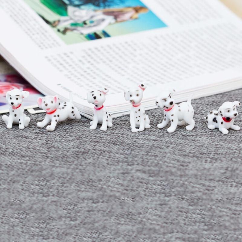 6 Pcs/set Dalmatians Simulation Animals Micro Landscape Decoration Mini Cute Plasic Ornaments Gardening House Landscape Fairy