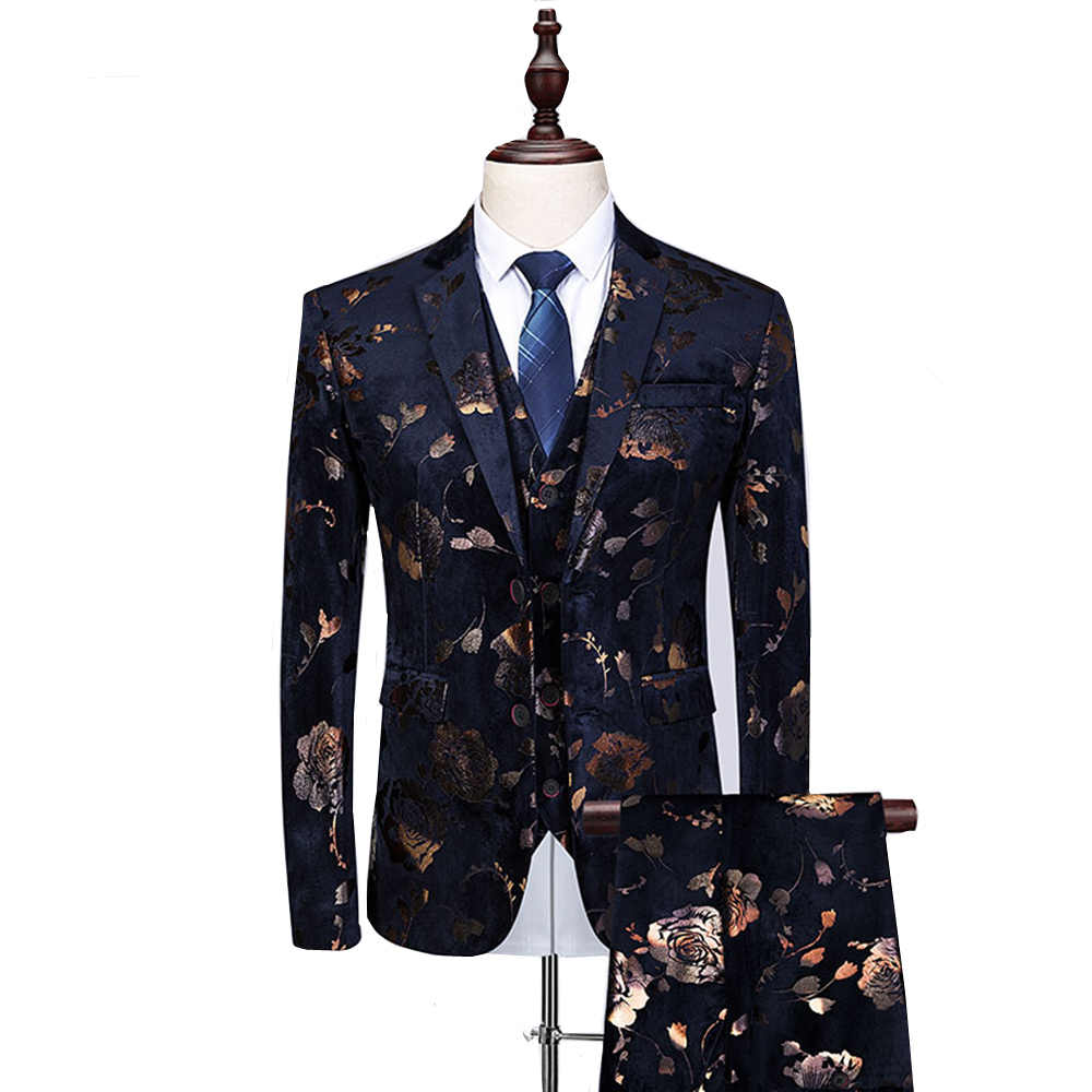 男性スーツ 3 ピースファッションシングルブレストフラワープリント司会タキシードスーツ男性 6XL ハイト品質スリム結婚式花婿スーツ