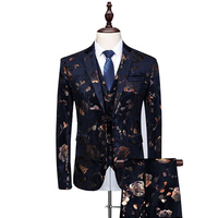 Men Suit 3 Piece Fashion Single Breasted Flower Printed Emcee Tuxedo Suit Male 6XL Hight Quality Slim Wedding bridegroom Suits