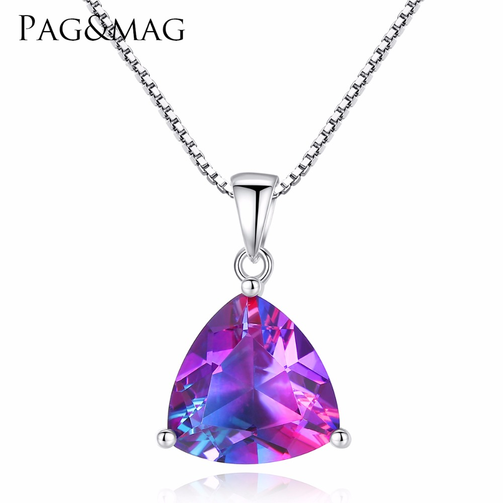 PAG&MAG Triangle Oval Rainbow Fire Mystic Topaz Pendant Necklace 925 Sterling Silver Jewelry For Women Anniversary Party GiftPAG&MAG Triangle Oval Rainbow Fire Mystic Topaz Pendant Necklace 925 Sterling Silver Jewelry For Women Anniversary Party Gift