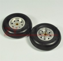 1 Pair 3inch Solid Rubber Wheels with Alu Hub For RC Airplane H24mm NEW