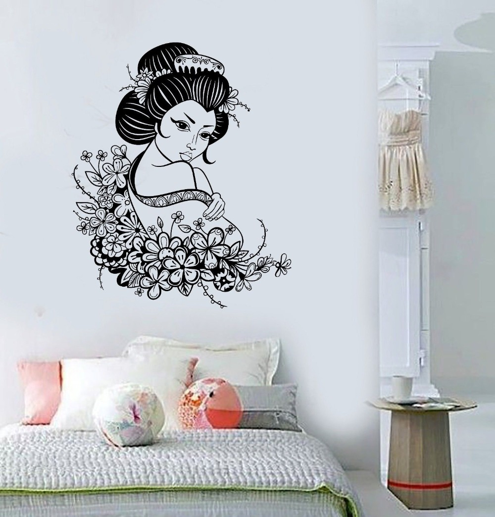 Us 29 99 Vinyl Decal Geisha Japan Japanese Flowers Asian Art Decor Wall Stickers In Wall Stickers From Home Garden On Aliexpress