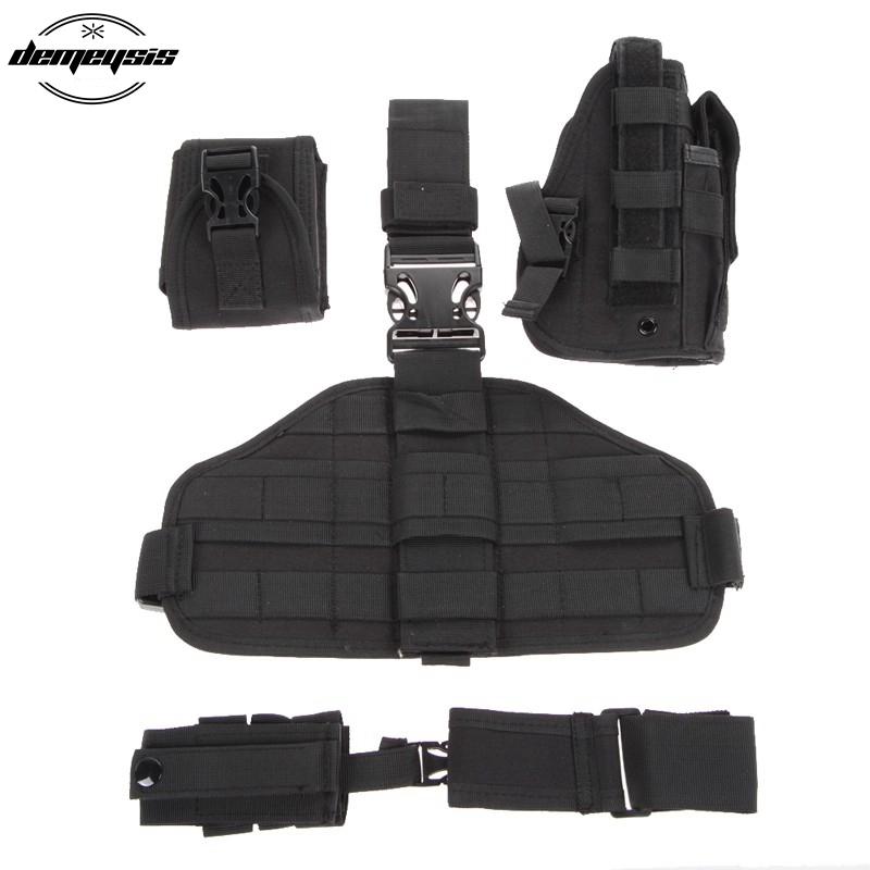 Army Tactical Universal Adjustable Hunting Pistol Molle Drop Leg Stickers Design Nylon Platform Panel w/Pistol Holster Bag Pouch