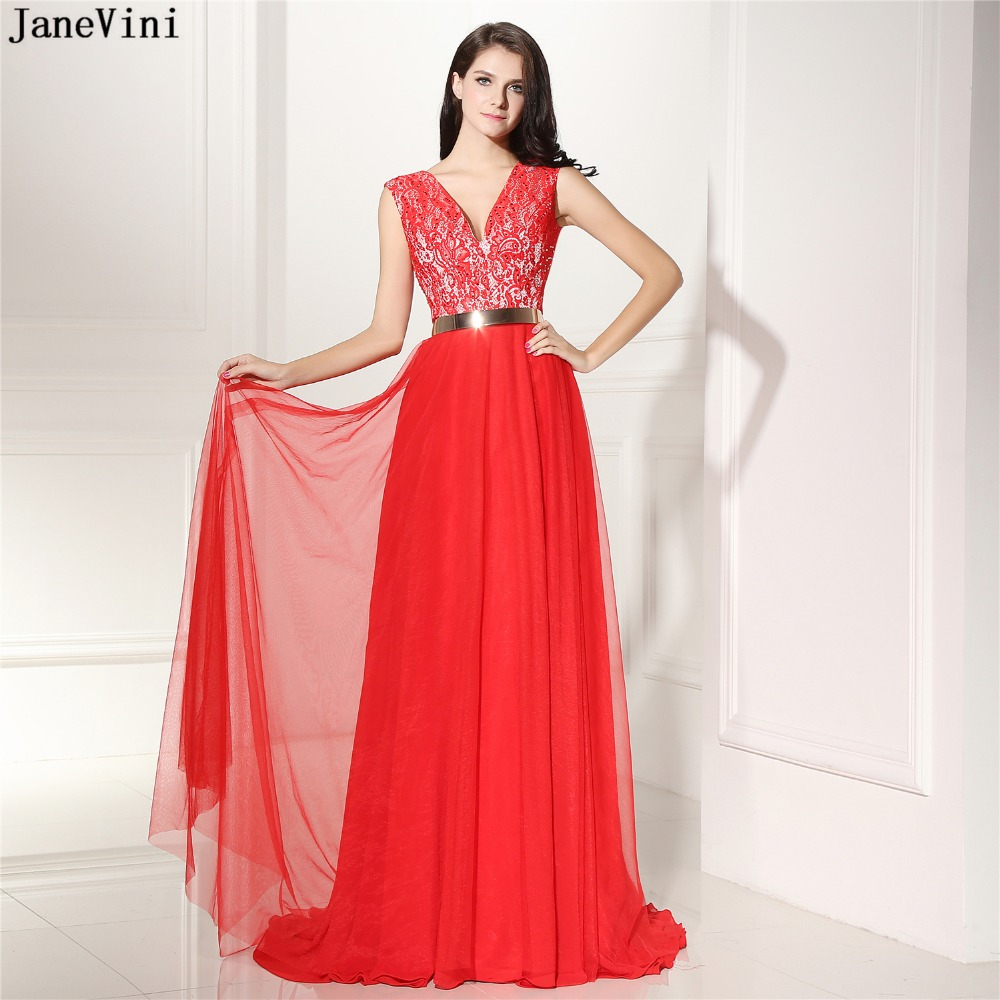 JaneVini 2019 Red Lace Beaded Long   Bridesmaid     Dresses   with Gold Sashes V Neck Sweep Train Backless A Line Tulle Prom Party Gowns
