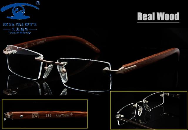 Naturalmente Hombres Gafas De Marcos Sin Rebordes De Madera Marcos de Anteojos Recetados para Hombres Diseñador oculos de grau De Madera
