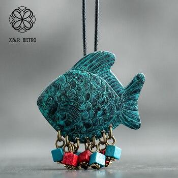 Ожерелье с подвеской в виде рыбы для женщин и мужчин, синее винтажное дизайнерское ожерелье с кожаной веревкой в стиле ретро, 2018
