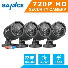 SANNCE 4PCS AHD 720P 1MP CCTV Digital camera system 1200TVL Safety cameras IR indoor out of doors IP66 Surveillance package with BNC Cables