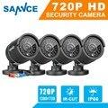 Sannce 4 pcs ahd 720 p 1mp cctv sistema de câmera de segurança 1200tvl câmeras ir kit de vigilância ip66 ao ar livre indoor com cabos bnc