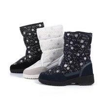 JINBEILEENew wild cold warm snowflake high tube female snow boots outdoor travel ski non-slip buckle cotton boots Women Slip-On
