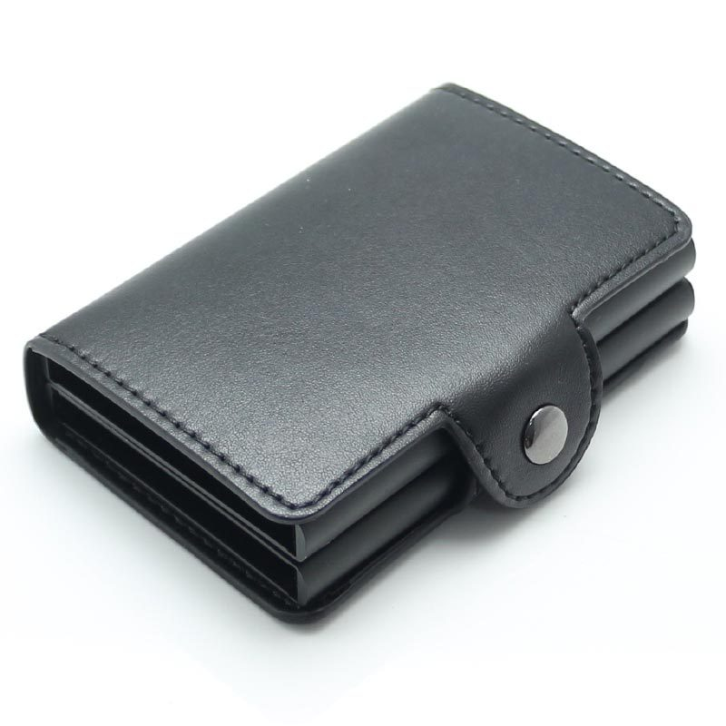 New Men Double Aluminum Cow Leather Travel Card Wallet Rfid Credit Card Holder Pu Leather Unisex Security Metal Smart Purse 486 Convenience Goods Card & Id Holders Coin Purses & Holders