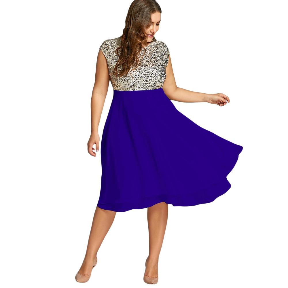 ec741fd37b US $23.99 49% OFF|Gamiss Women Plus Size 5XL Dress Club Party Dresses Robe  Female Flounce Sequin Sparkly Cocktail Spring Dress De Fiesta Vestidos-in  ...