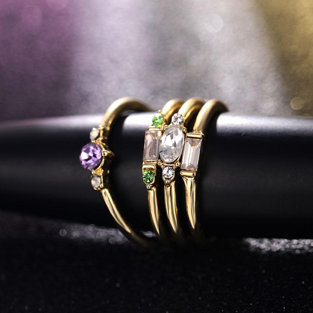 IPARAM 4 Pcs/set Crystal Zircon Gold Ring Set 19 Vintage Bohemian Women Engagement Party Ring Set Jewelry 6