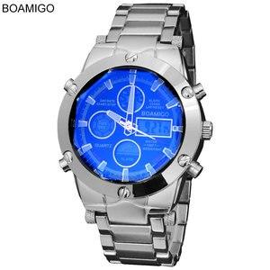Мужские наручные часы BOAMIGO, спортивные часы в стиле милитари из сплава со светодиодной подсветкой, водонепроницаемые