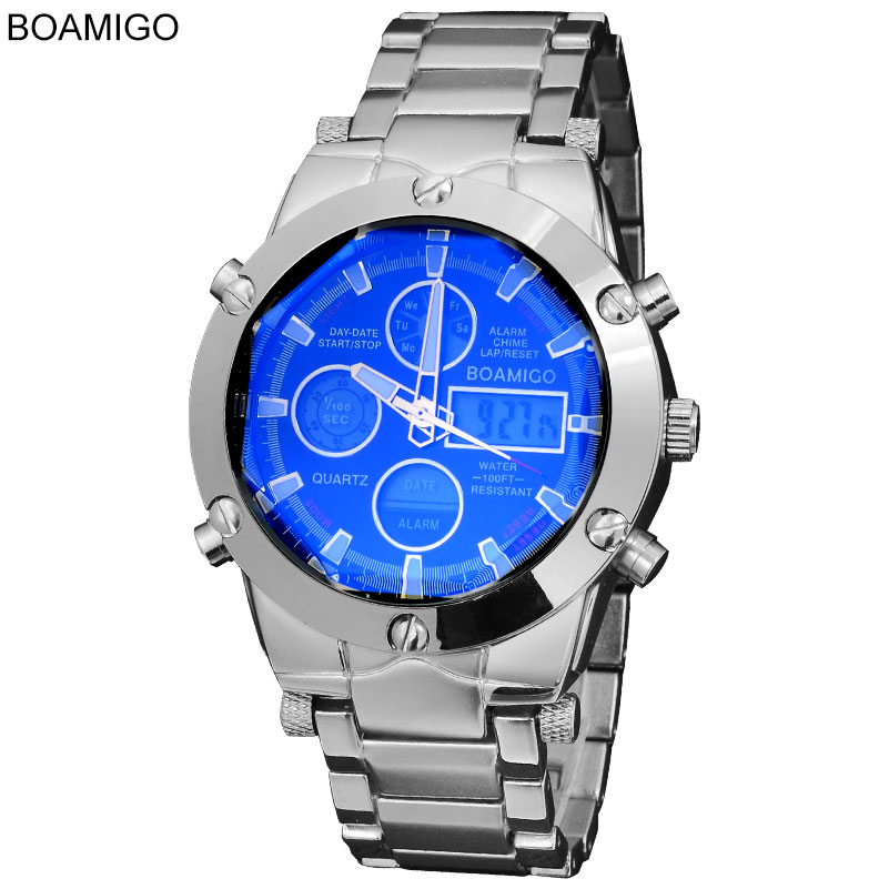 BOAMIGO Top Luxury Brand Men Military Sports Watches Man's Alloy Led Digital Watches Male Waterproof Wristwatches Reloj Hombre boamigo men sports watches brown leather band man military quartz led digital analog casual wristwatches waterproof reloj hombre