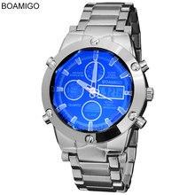 BOAMIGO en lüks marka erkekler askeri spor saatler erkek alaşım Led dijital saatler erkek su geçirmez kol saatleri Reloj Hombre
