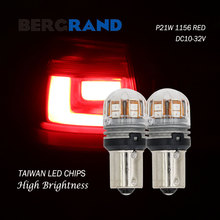 2PCS P21W 1156 BA15s R5W R10W side lights led lamps for car turn signals motorcycle 15SMD Red Light DC10-30V High Brightness