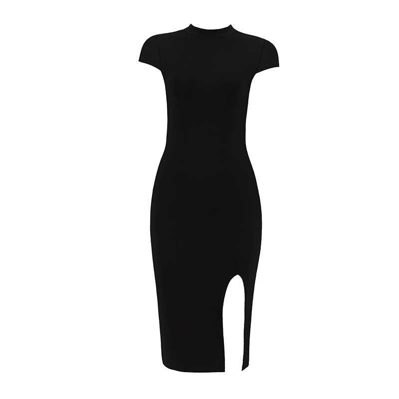 Оптовая продажа черный O шеи сзади крест-накрест кружева выдалбливают сексуальный разрез Эластичный Bodycon Для женщин вечерние повязки знаменитости летнее платье