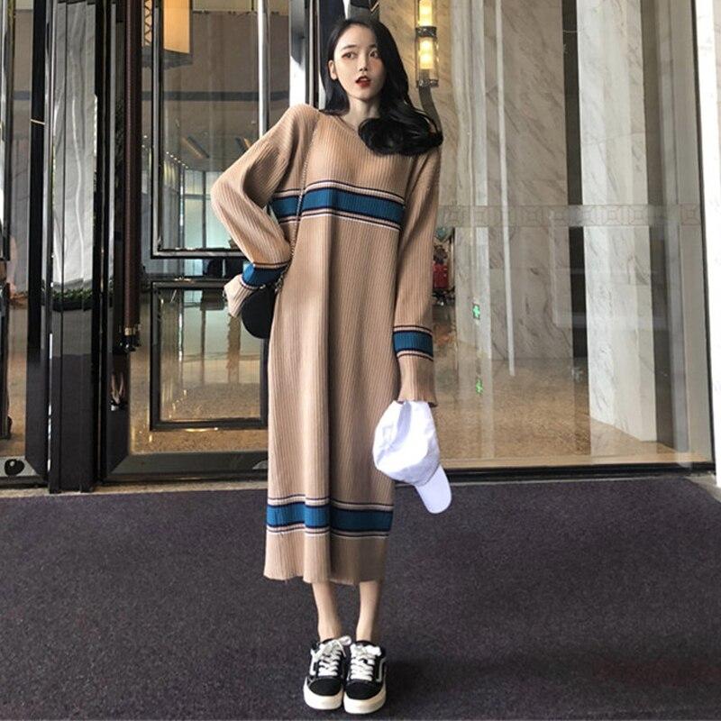 2018 automne et hiver femmes version coréenne de la longue lâche à manches longues tricot doux vent robe pull robe
