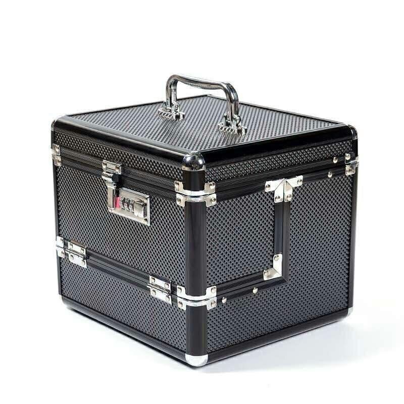 Hot Sale  new Professional Aluminium alloy Make up Box Makeup Case Beauty Case Cosmetic Bag Multi Tiers Lockable Jewelry Box