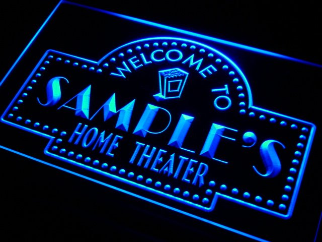 ph-tm Name Personalized Custom Home Theater Bar Neon Sign with On/Off Switch 7 Colors 4 Sizes