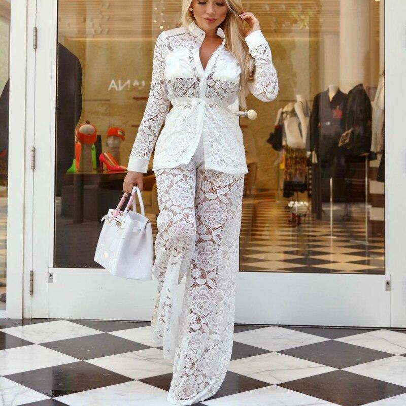 2 Piece Set Donne Crochet Tute E Salopette Gamba Larga Pantaloni Adatta Alle 2019 Di Estate A Maniche Lunghe In Pizzo Giacca Sportiva Vestiti Sexy Costume Camisetas Xz005