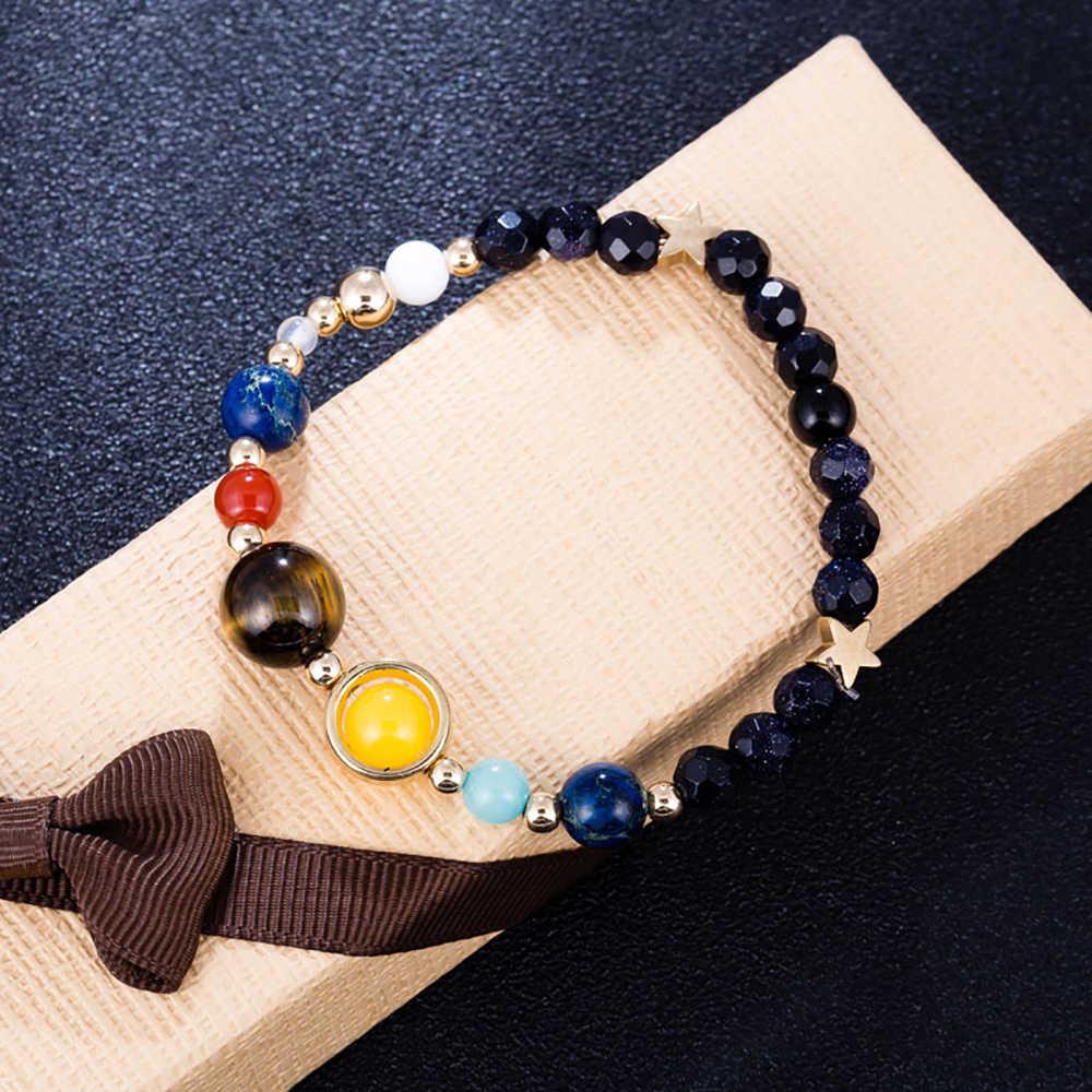 BOEYCJR Вселенная планеты браслеты, бусы и браслеты, бижутерия натуральный Солнечный Системы браслет энергии для Для женщин или Для мужчин 2019