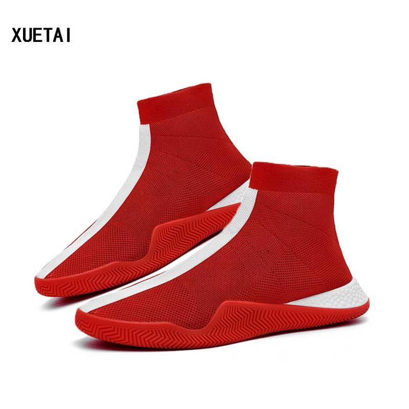 Mens Fashion Socks Shoes Man Sneakers Male Flying Running Shoes Casual Walking Shoe Footwear Autumn 2019 Black White Red Shoe Обувь