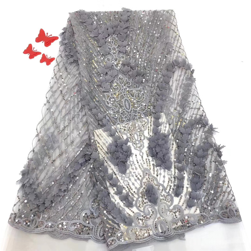 Luxueux et noble 2019 gris dernier style européen avec des paillettes et des décalcomanies 3D tulle dentelle tissu. digne de possession ff5-7