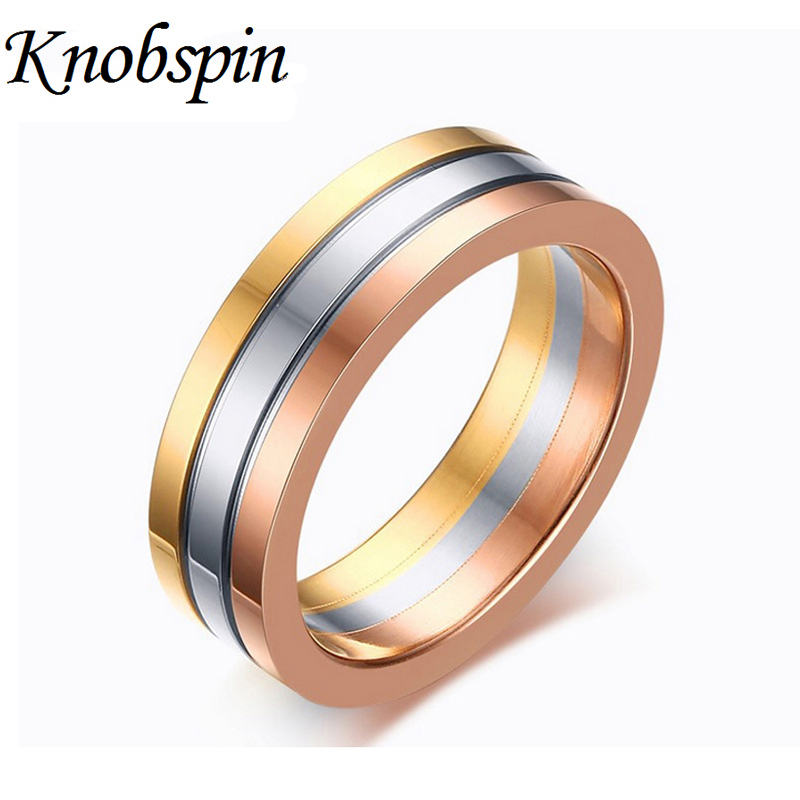 Fashion colorful Striped Rings Titanium Steel Gold/Rose Plated 3 color Jewelry for men women Best Gift Accessories Ring