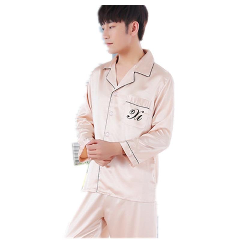 New Silk Pyjamas Set Sleepwear Cardigan Mens Silk Pajamas Set Full Sleeve Trousers Plus Size XXXL Pajamas