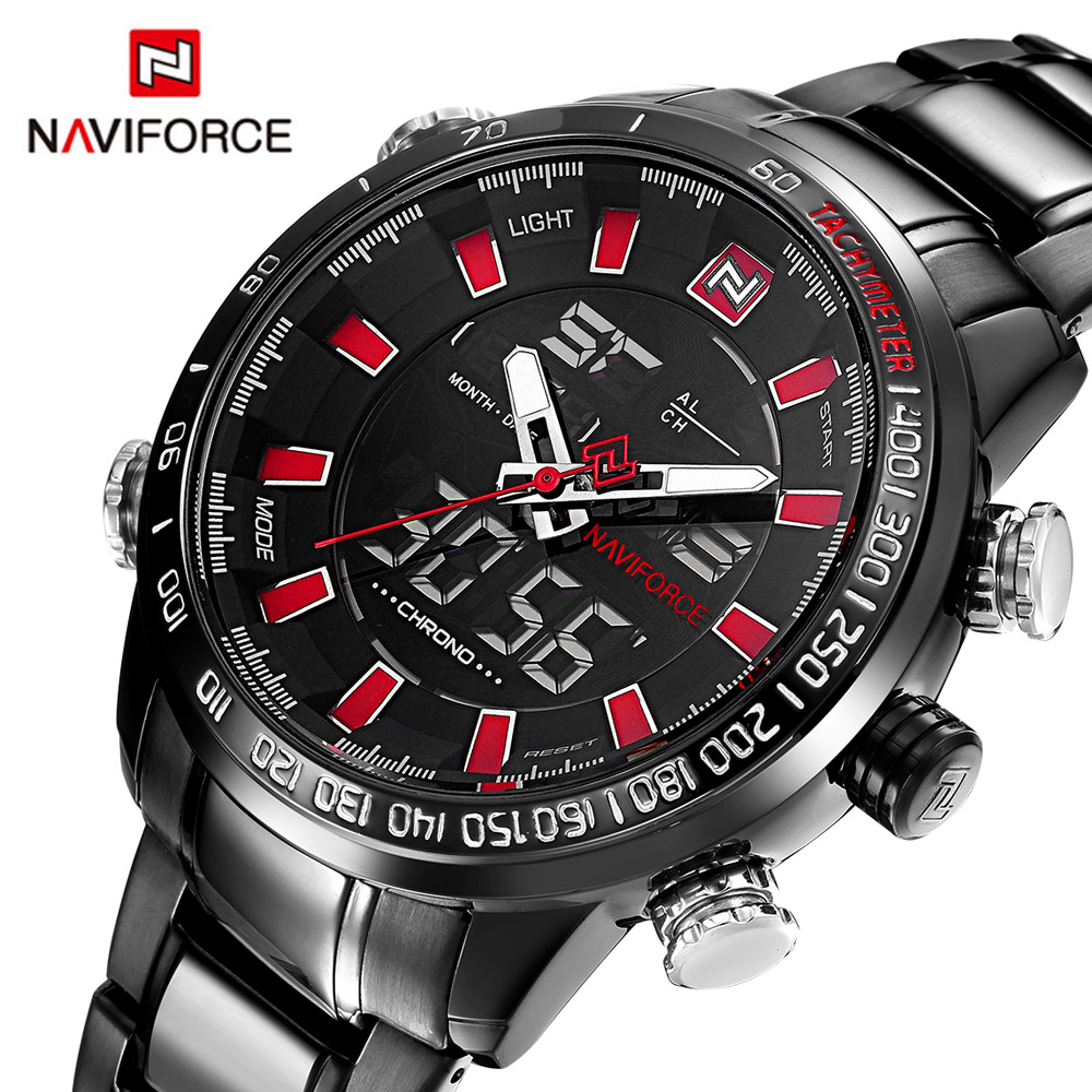 NAVIFORCE Luxury Brand Analog Led Digital Sport Watches Men Quartz Clock Men's Steel Military Wrist Watch Relogio Masculino 2017 weide casual genuine luxury brand quartz sport relogio digital masculino watch stainless steel analog men automatic alarm clock