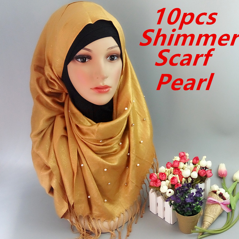 L3 High Fashion shimmer lurex shawls and scarves solid islamic hijab women winter sparklling bandelet muslim tassel scarf