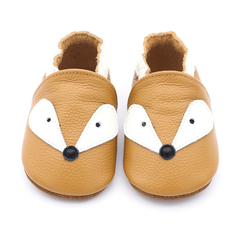 2019 New Skid-Proof Fox Style Genuine Leather Baby Boys Girls Shoes Infant Toddler Moccasins Slippers Soft Bottom First Walkers