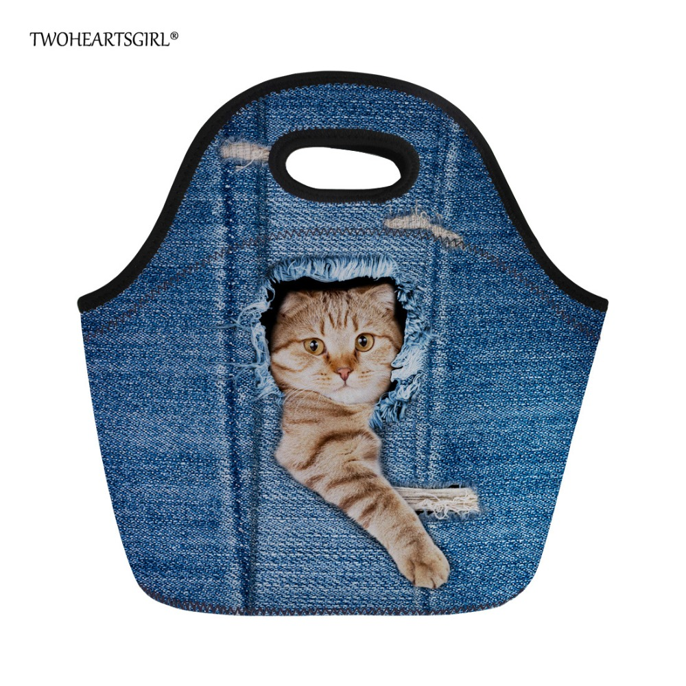 Twoheartsgirl Blue 3d Jeans Cat Lunch Bag Neoprene Tote Lunch Box for Girls Kids Thermal Bag Insulated Portable Women Food Bag